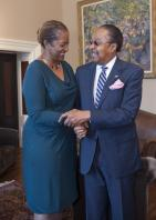 Senator Holly J. Mitchell with Dr. Clarence Jones