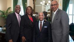 Assemblymembers Holden and Cooper, Senator Mitchell, and Speaker Heastie