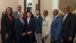 New York Assembly Speaker Carl Heastie, Speaker Rendon, and members of the CLBC